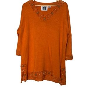 Orange tunic sweater Storybook Knits EUC L